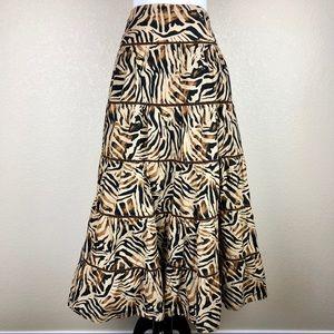 JONES NEW YORK Animal Print Ruffled Long Skirt